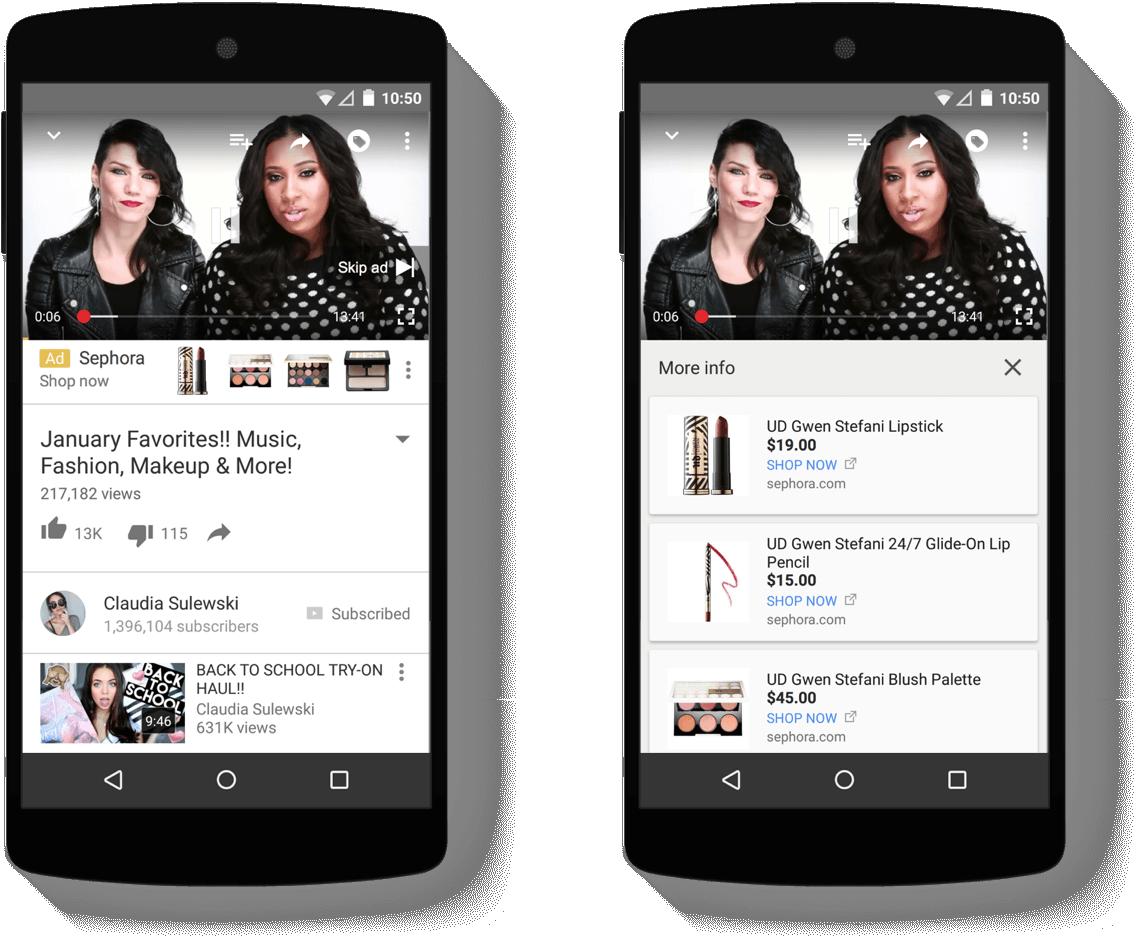 Produktové reklamy pri youtube in-stream reklamách